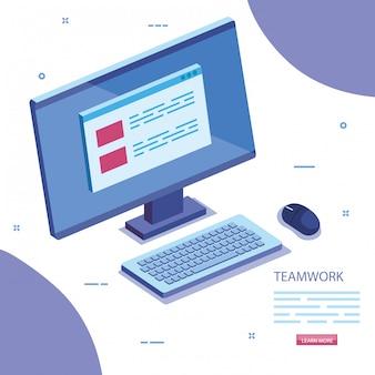 Escena de trabajo en equipo con el icono del escritorio de la computadora