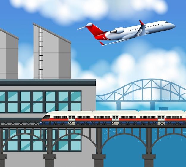Escena de tren y aeropuerto