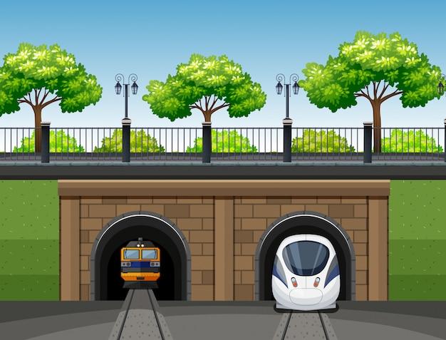 Escena del tren moderno y clásico.