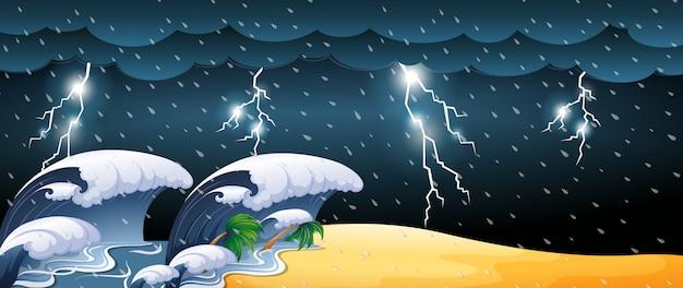 Escena del tsunami con tormentas eléctricas.