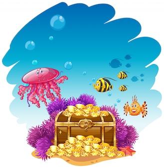 Escena de uderwater con caja de tesoro y pescado.
