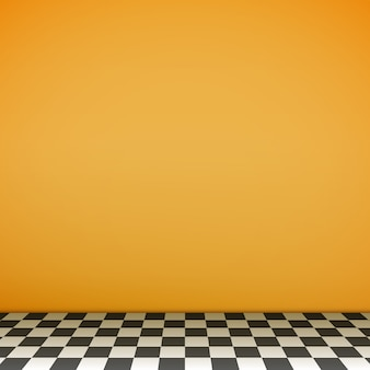 Escena vacía amarilla con piso de tablero de ajedrez.
