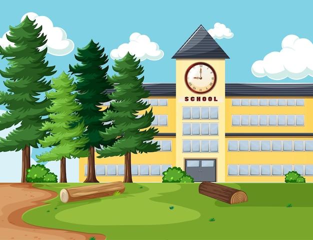 Escena vacía con edificio escolar en la naturaleza.