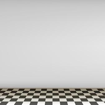 Escena vacía gris con piso de tablero de ajedrez.