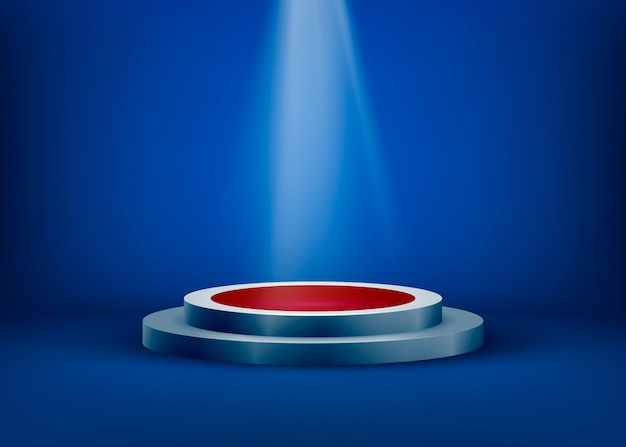 La escena vacía está iluminada por la luz de un foco sobre un fondo azul. resplandor del foco en el pedestal. ilustración
