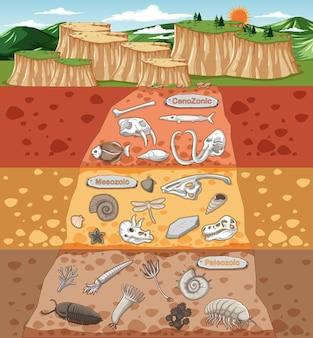 Escena con varios huesos de animales y fósiles de dinosaurios en capas de suelo.