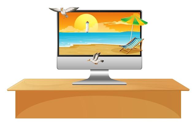 Escena de verano en el escritorio de la computadora