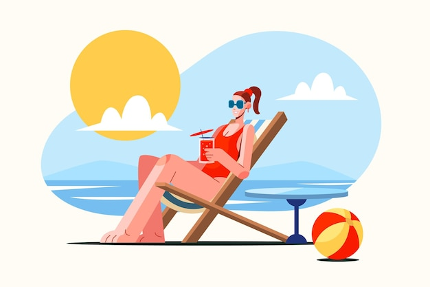 Escena de verano plana con mujer bronceada.