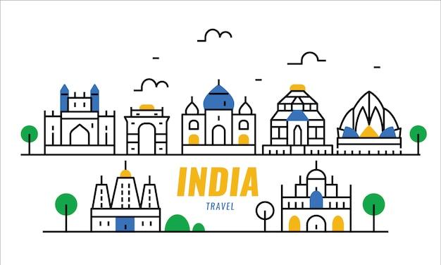 Escena de viaje de la india. cartel de línea delgada y elementos de banner.
