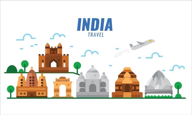 Escena de viaje de la india. cartel plano y elementos de banner.