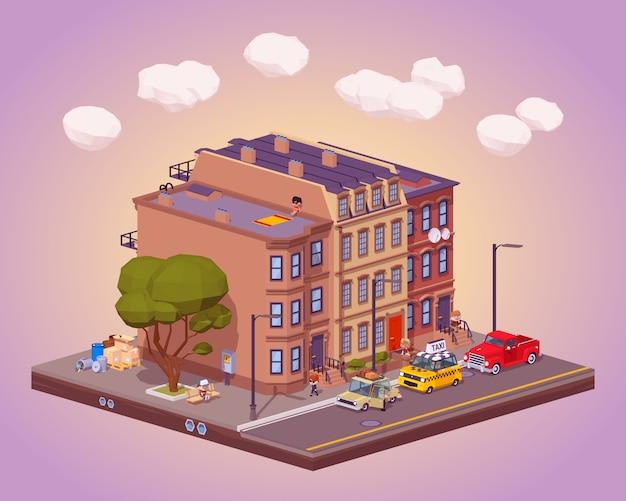 Escena de la vida urbana en la calle.