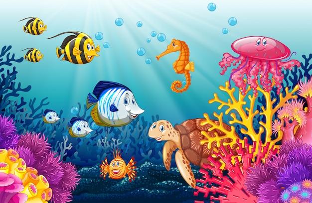 Escena con vidas bajo el agua