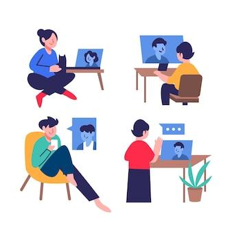Escena de videoconferencia de amigos dibujados a mano