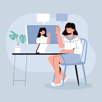Escena de videoconferencia de amigos dibujados
