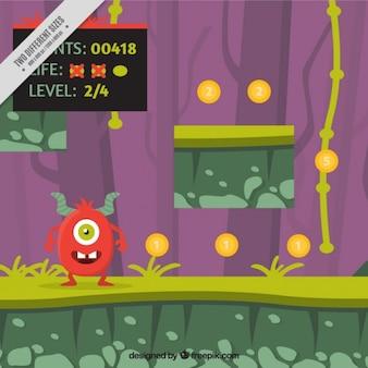 Una escena de videojuego con un monstruo rojo