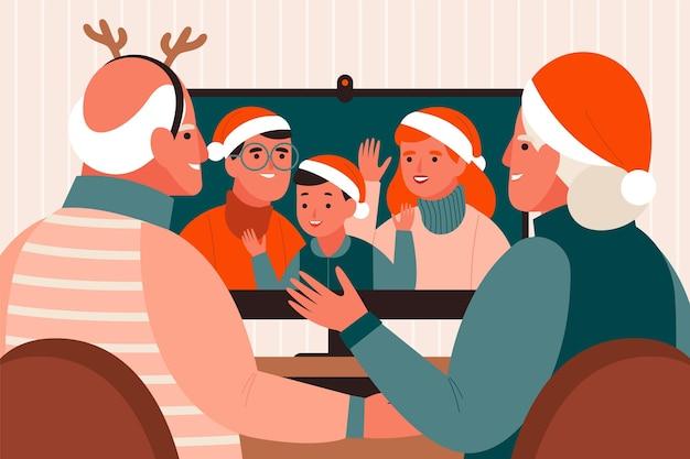 Escena de videollamada familiar navideña