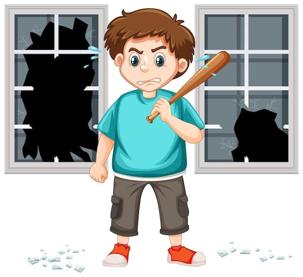Escena de violencia con hombre enojado y bate de béisbol.