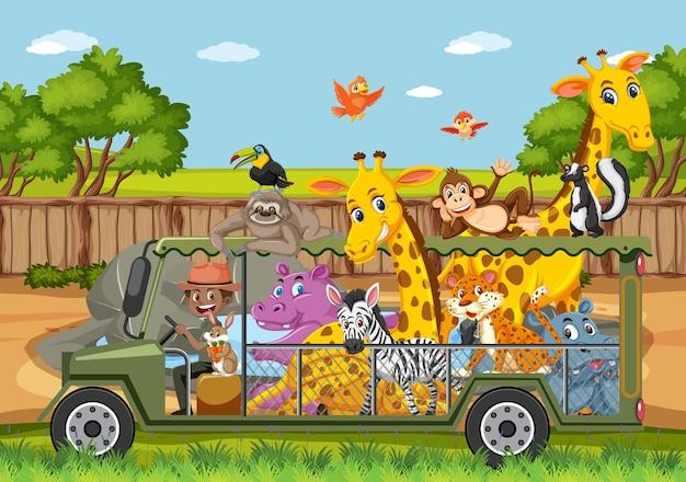 Escena del zoológico con animales felices en el coche de la jaula.