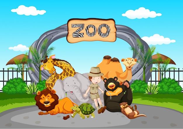Escena en el zoológico con el cuidador del zoológico y los animales