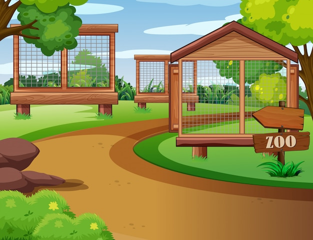 Escena del zoológico con jaulas vacías