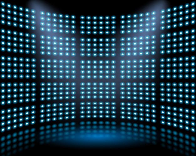 Escenario de actuación con pared de fondo brillante de bombilla. fondo abstracto
