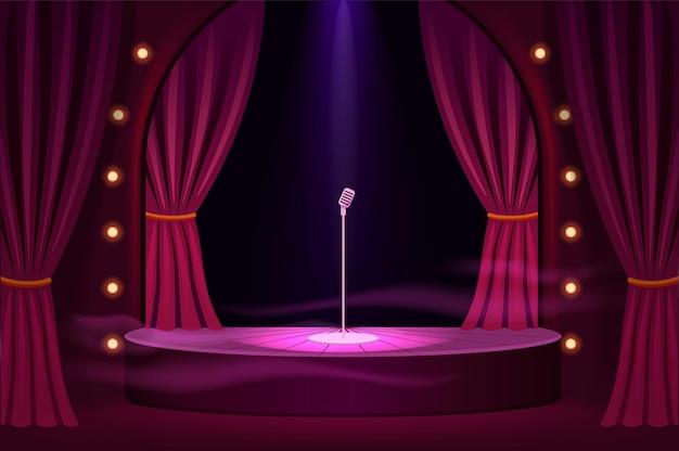 Escenario para actuaciones con plantilla de micrófono.