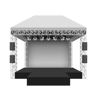 Escenario de conciertos de podio. espectáculo de espectáculos de entretenimiento, escena y evento.