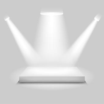 Escenario de concurso realista, podio blanco vacío, lugar para la colocación del producto para presentación, podio ganador o escenario sobre fondo gris