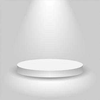 Escenario de concurso realista, podio blanco vacío, lugar para la colocación del producto para presentación, podio ganador o escenario sobre fondo gris,
