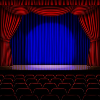 Escenario con cortina roja de fondo
