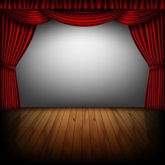 Escenario con cortina roja y pantalla de cine.
