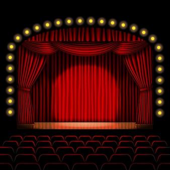 Escenario con cortina roja