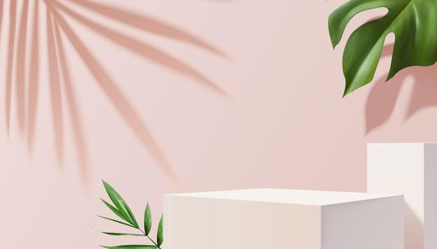 Escenario cuadrado blanco con plantas tropicales sobre fondo rosa en la ilustración 3d