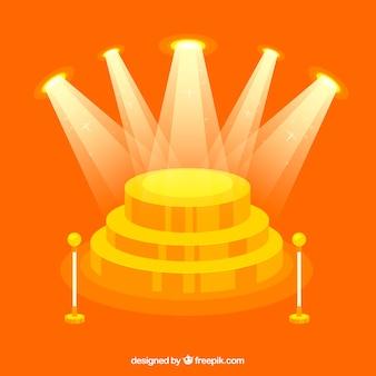 Escenario de diseño plano en forma de podium con luces elegantes