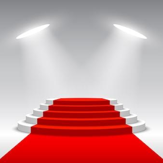 Escenario para entrega de premios. podio blanco con alfombra roja. pedestal. escena redonda ilustración.