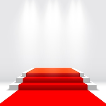Escenario para entrega de premios. podio blanco con alfombra roja. pedestal. ilustración.