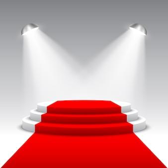 Escenario para entrega de premios con reflectores. podio redondo blanco con alfombra roja. pedestal. escena. ilustración.