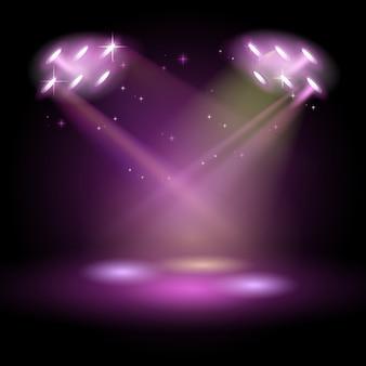 Escenario con escena de podio para la ceremonia de premiación sobre fondo púrpura