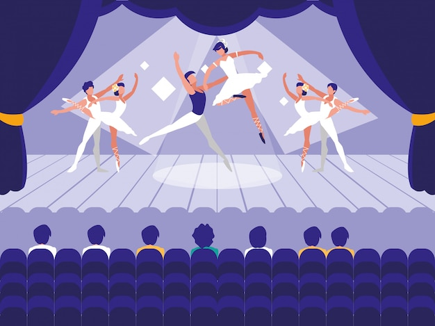 Escenario con espectáculo de escena de ballet
