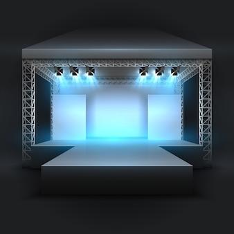 Escenario de espectáculo de música vacío con foco de focos