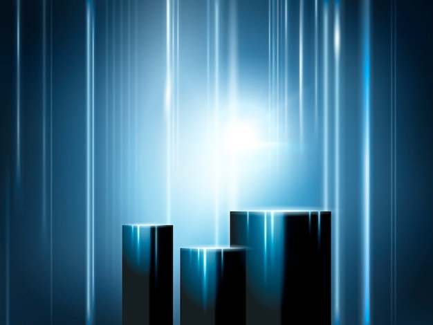 Escenario de exposición brillante, cuboides para exhibición de productos con rayos y efectos de luz.