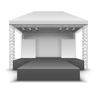 Escenario festival de musica al aire libre. la escena del concierto de rock con los proyectores aisló el ejemplo del vector. festival escenario al aire libre, concierto y actuación.