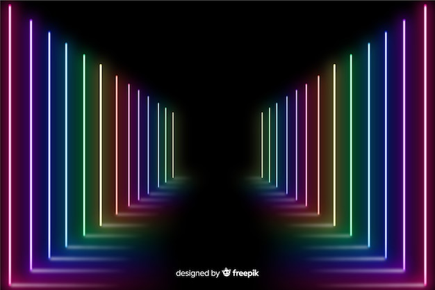 Escenario con fondo colorido de luz de neón