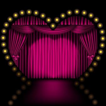 Escenario en forma de corazón con cortina rosa y luces.