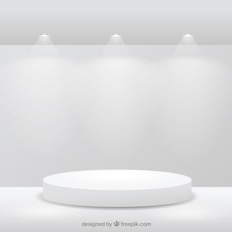 Escenario en la habitación blanca