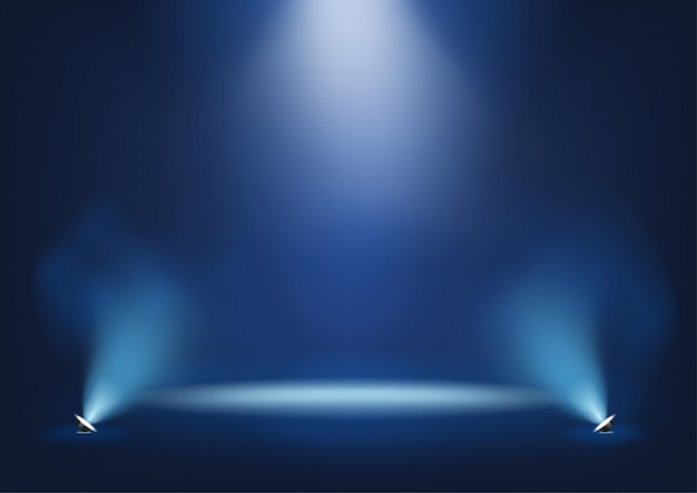 Escenario iluminado con luces brillantes plantilla para presentación