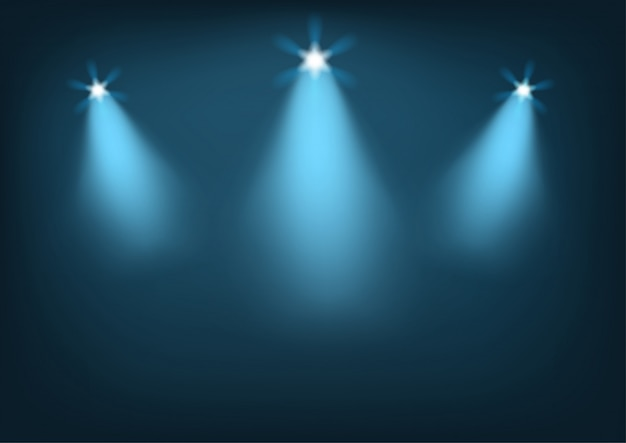 Escenario iluminado con luces brillantes.