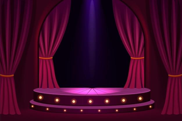 Escenario iluminado en sala de conciertos