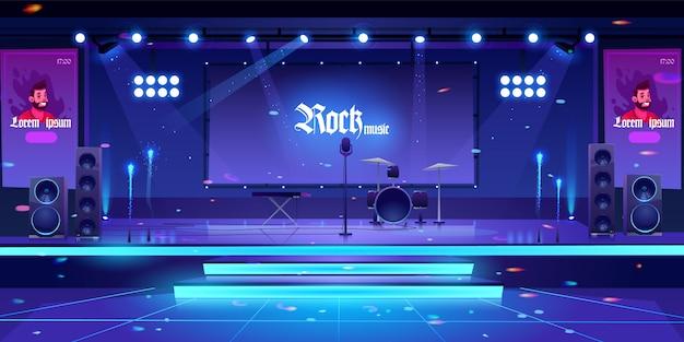 Escenario con instrumentos y equipos de música rock.