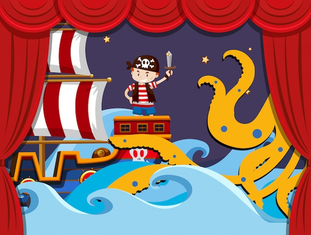 Escenario de juego con piratas luchando kraken.